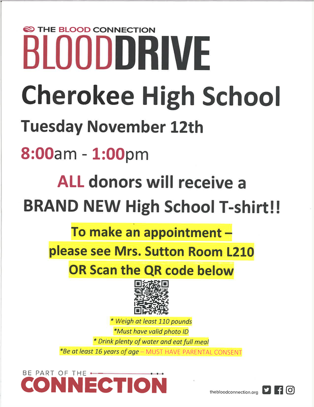 CHS Blood Drive on Nov 12th @ 8:00 am