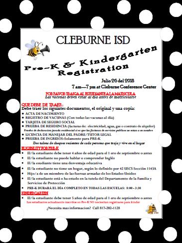 PreK Kindergarten Registration Spanish