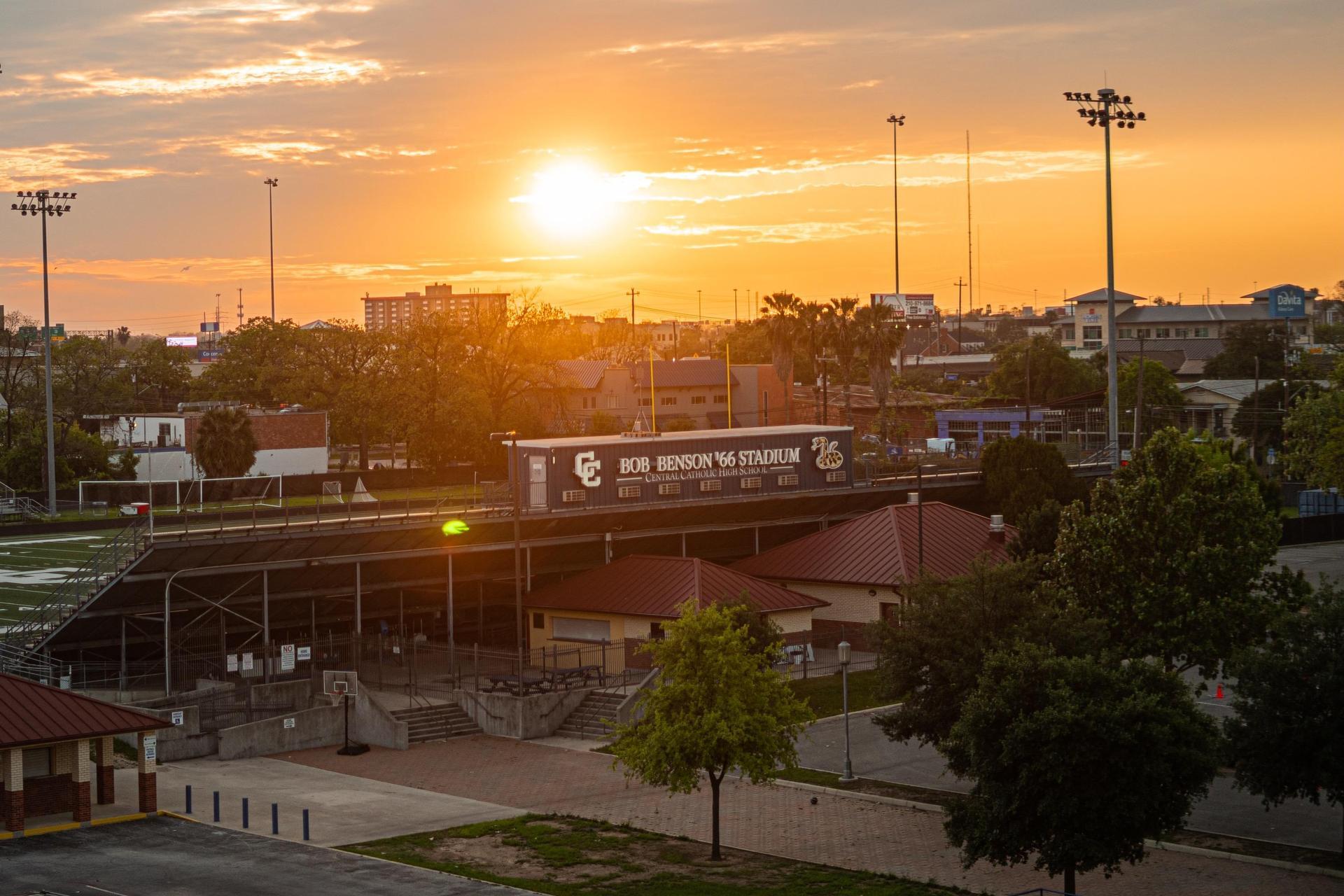Bob Benson Stadium sunset