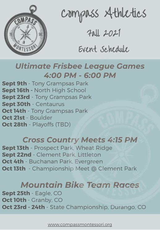 Fall 2021 Athletics Schedule
