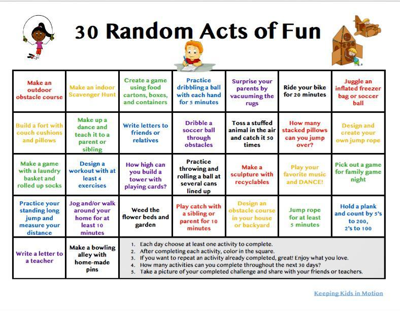 Happy May- 30 Random Acts of Fun
