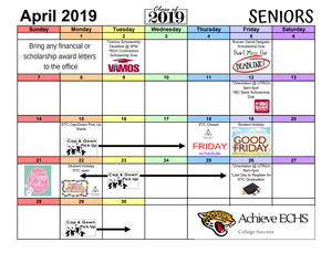 April 2019 Calendar of Events