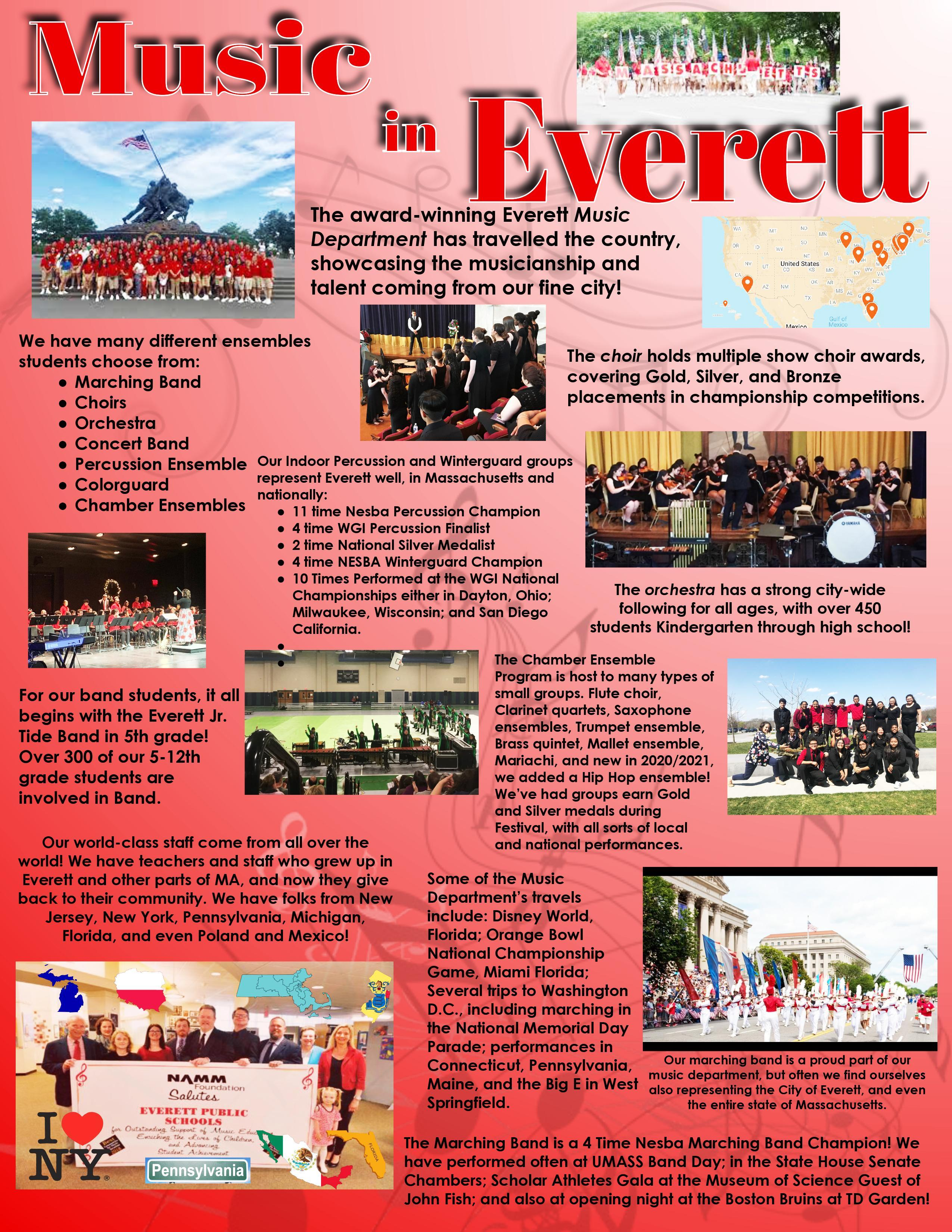 A flyer with pictures of EHS musical groups, bands, and ensembles