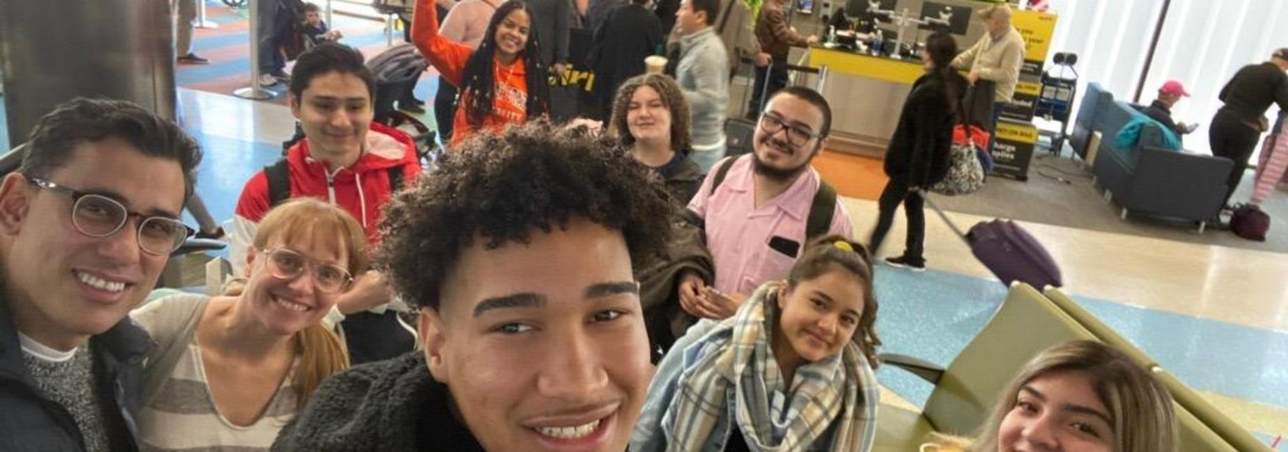 Students at the airport on their way to Puerto Rico