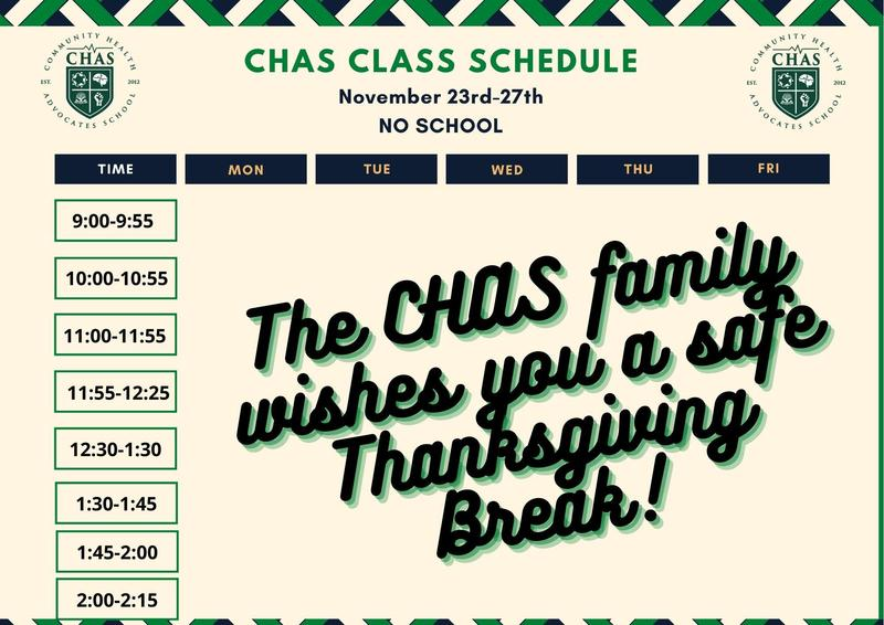 CHAS Class Schedule Week of November 23rd / Horario de clases de CHAS Semana del 23 de noviembre Featured Photo
