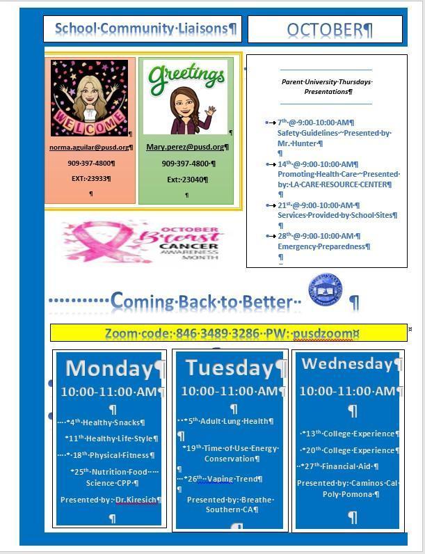Parent Workshops OCTOBER Flyer English