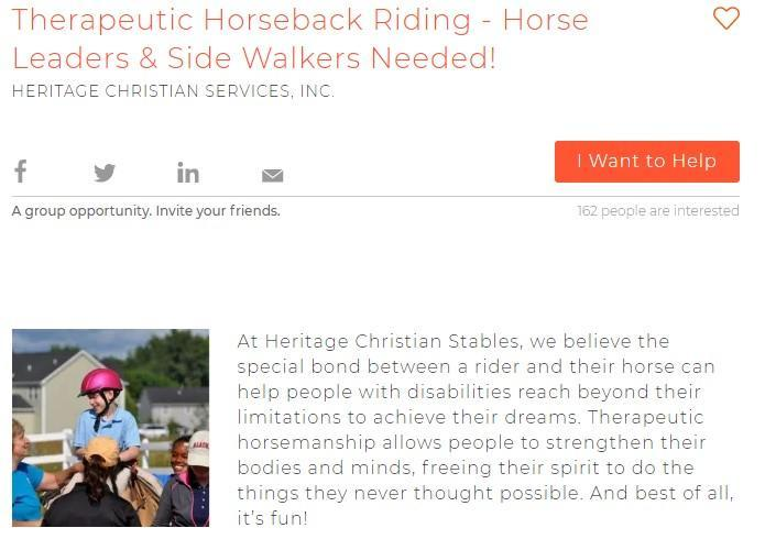 Therapeutic Horseback Riding Volunteers