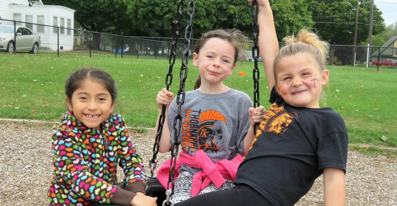 McFall students have fun  on the playground.