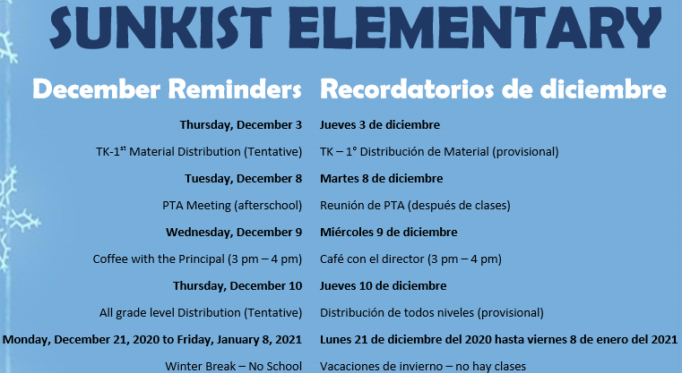 December Reminders * Recordatorios de diciembre Featured Photo