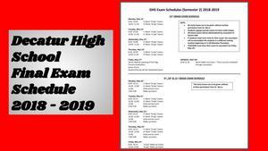 DHS Exam Schedule
