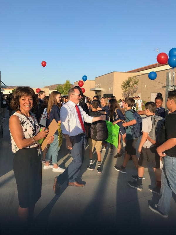 "What an awesome first day of school! Our ASB students greeted our students with a ""Fist bump freeway!"""