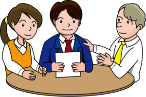 Three people meeting clip art