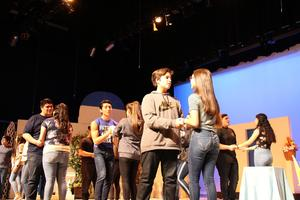 big cast dance scene stage rehearsal