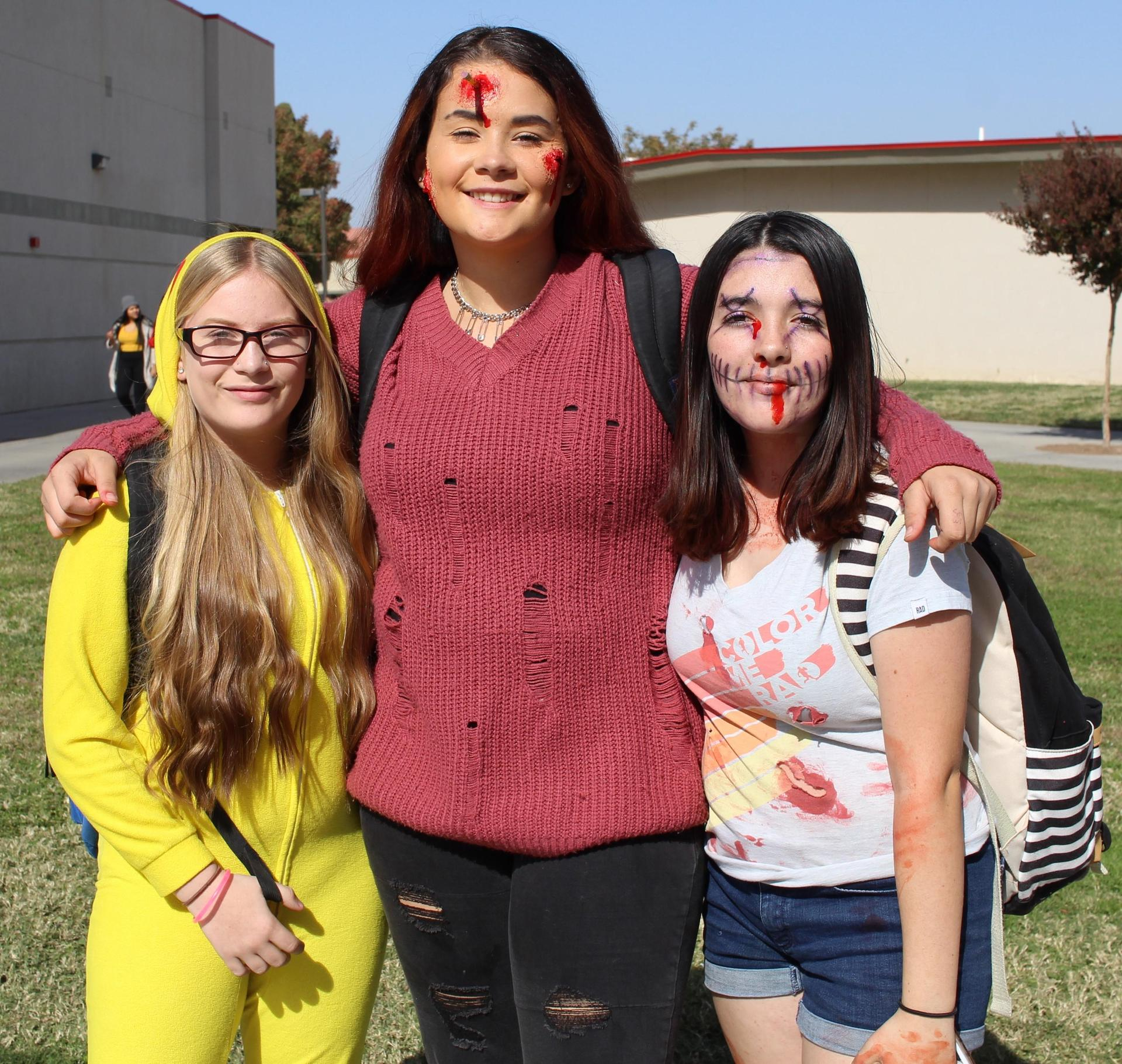 Maryjane Cluver as a chicken, Emily Azevedo as a zombie, Anabelle Birlew as a zombie