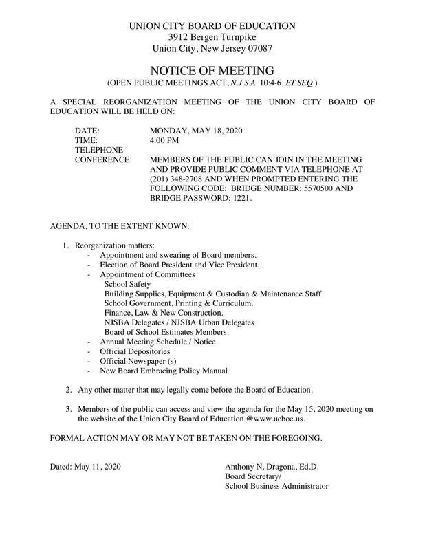Notice of Public Meeting 5/18/22