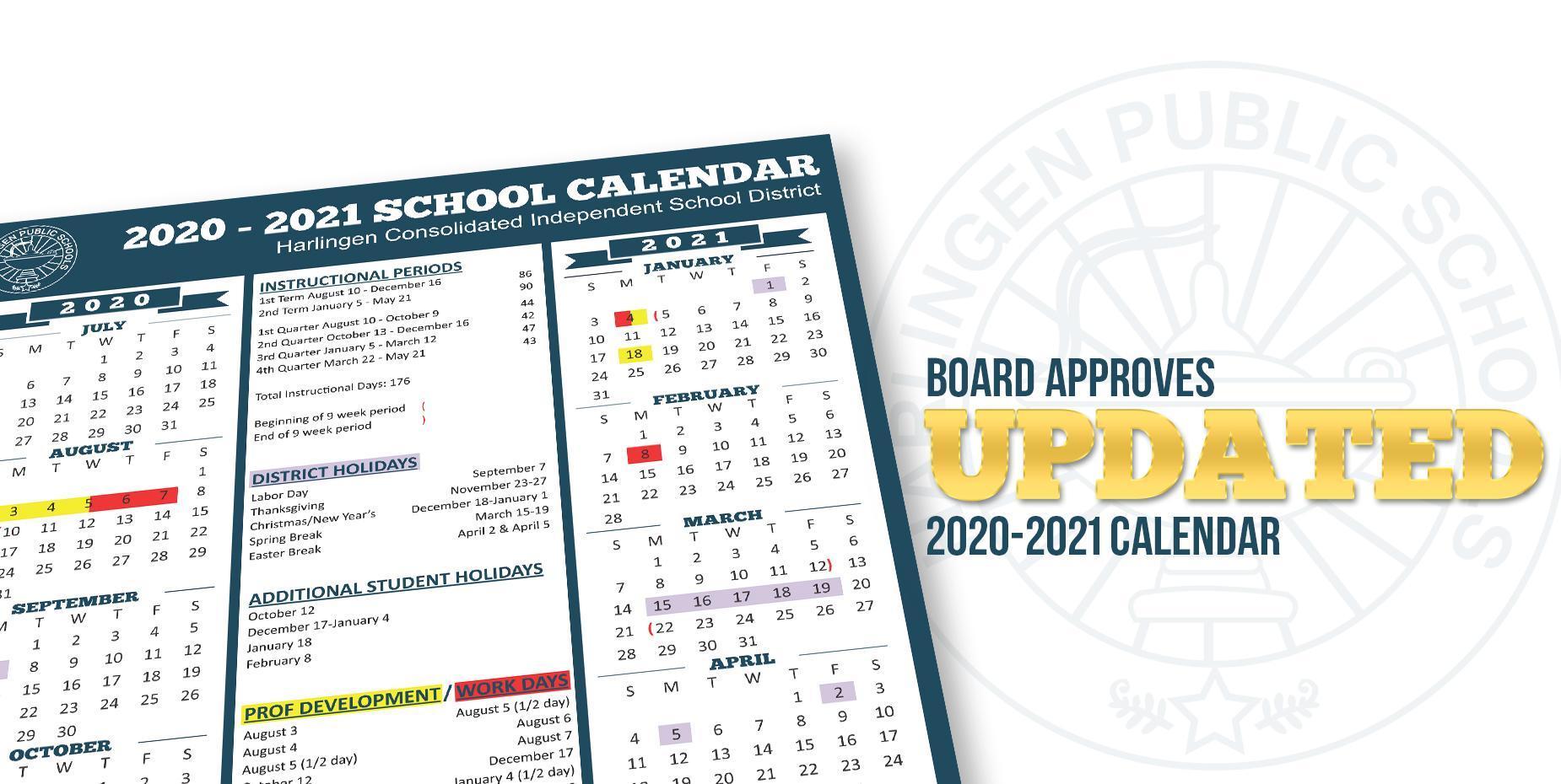 Board Approves updated 2020-2021 Calendar
