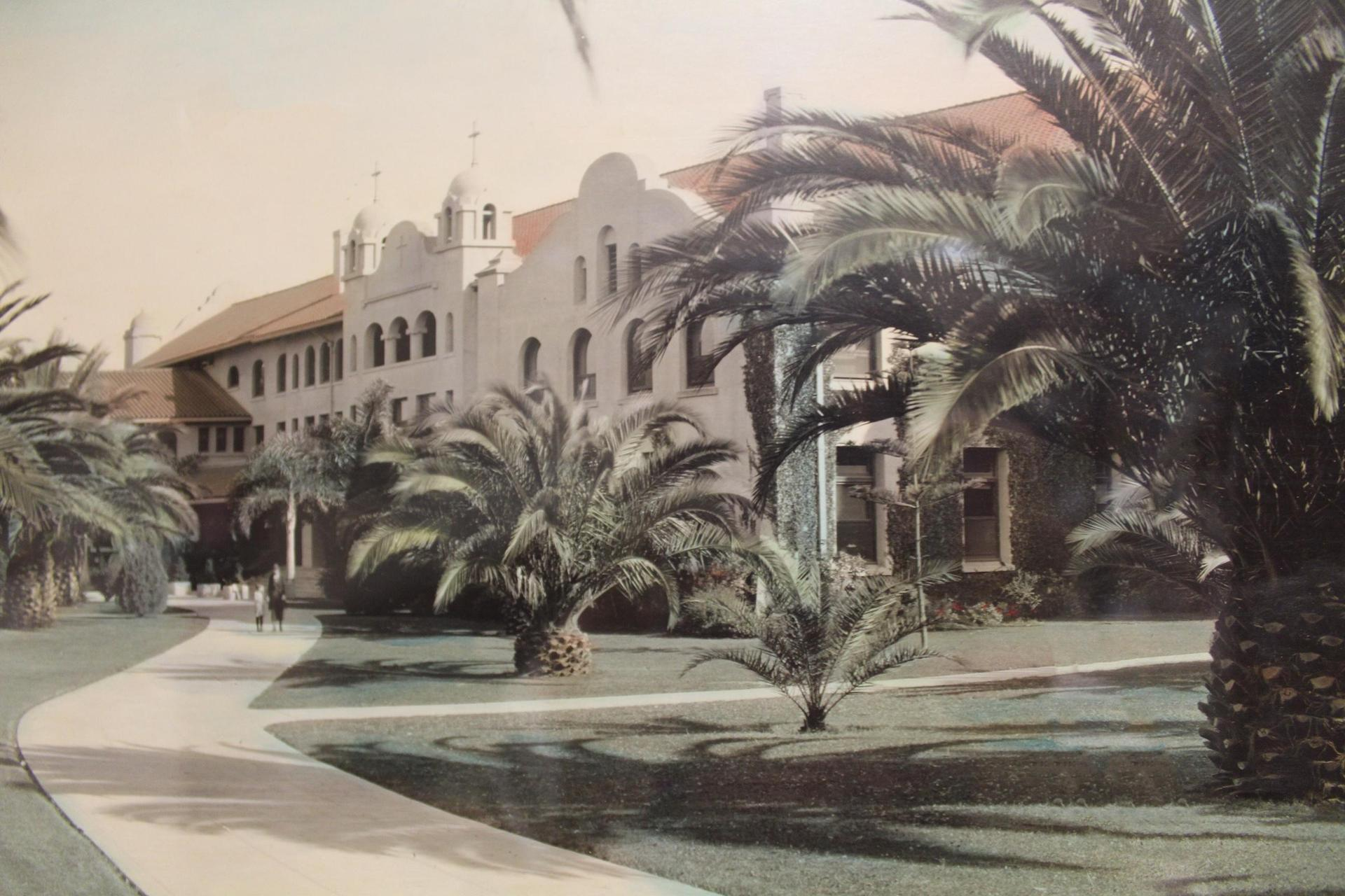 mission style building with palms