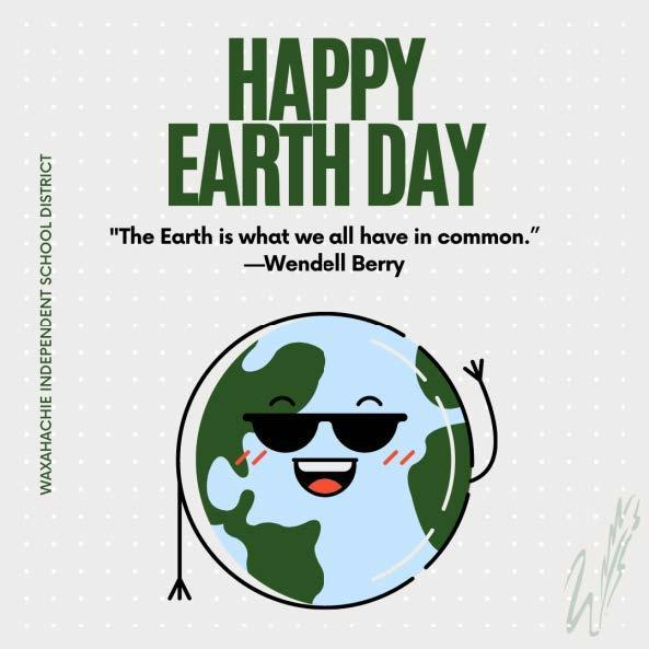 graphic reads happy earth day