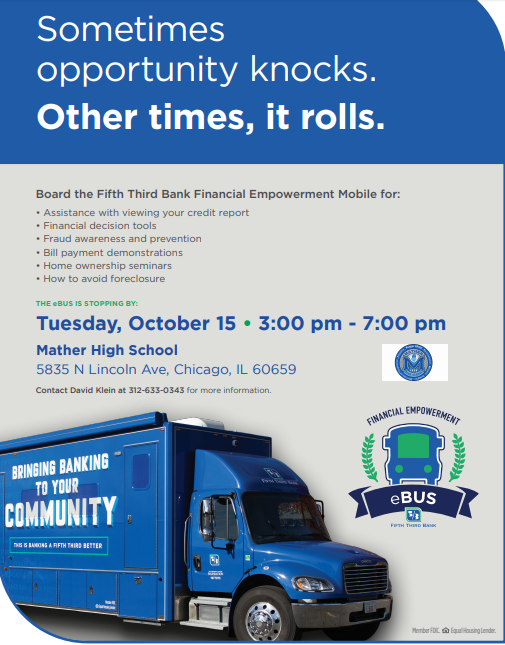 eBus is visiting Mather on October 15th from 3-7 pm, this flyer is attached for informational purposes