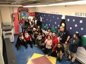 group photo of the UCHS students with the Jefferson Pre-Kindergarten class