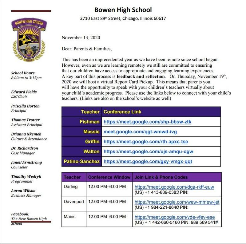 Bowen Virtual Report Card PickUp