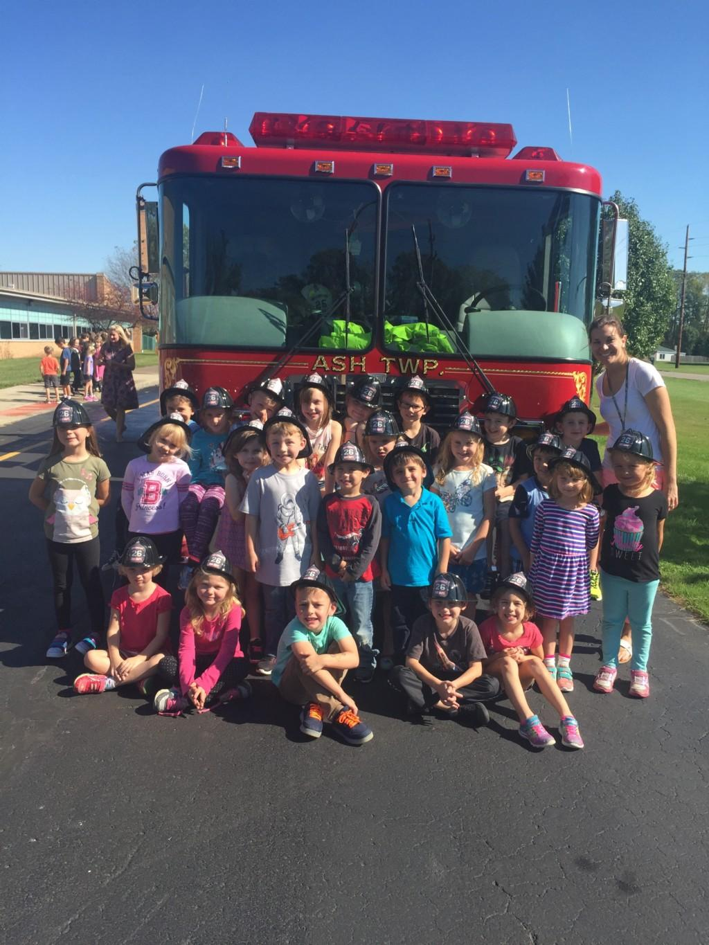 Fire Truck with classroom of students