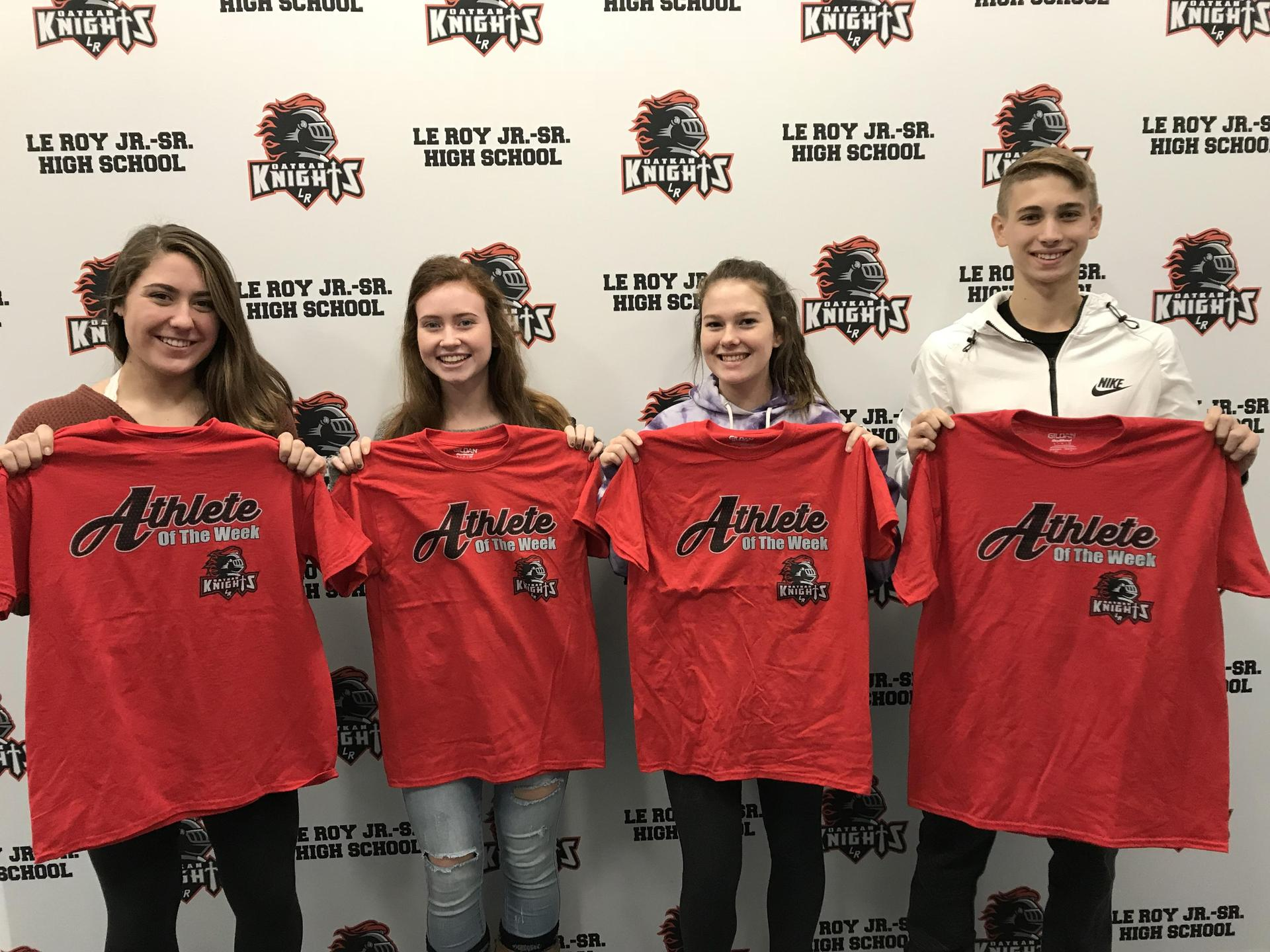 Athletes of the Week - K Carmichael, M Cone, K Fussell, and N Vallese