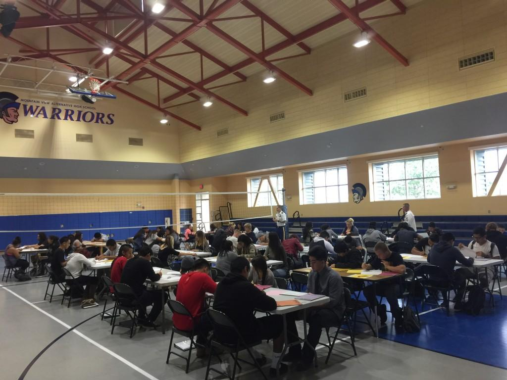 Students taking the ASVAB Test