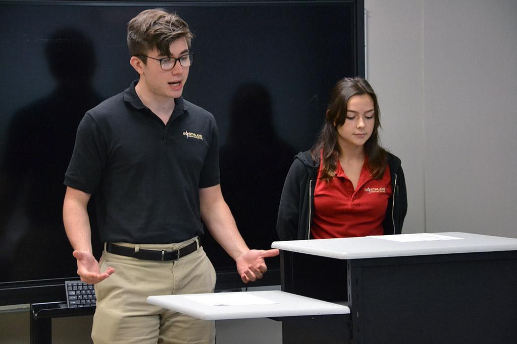 student debating