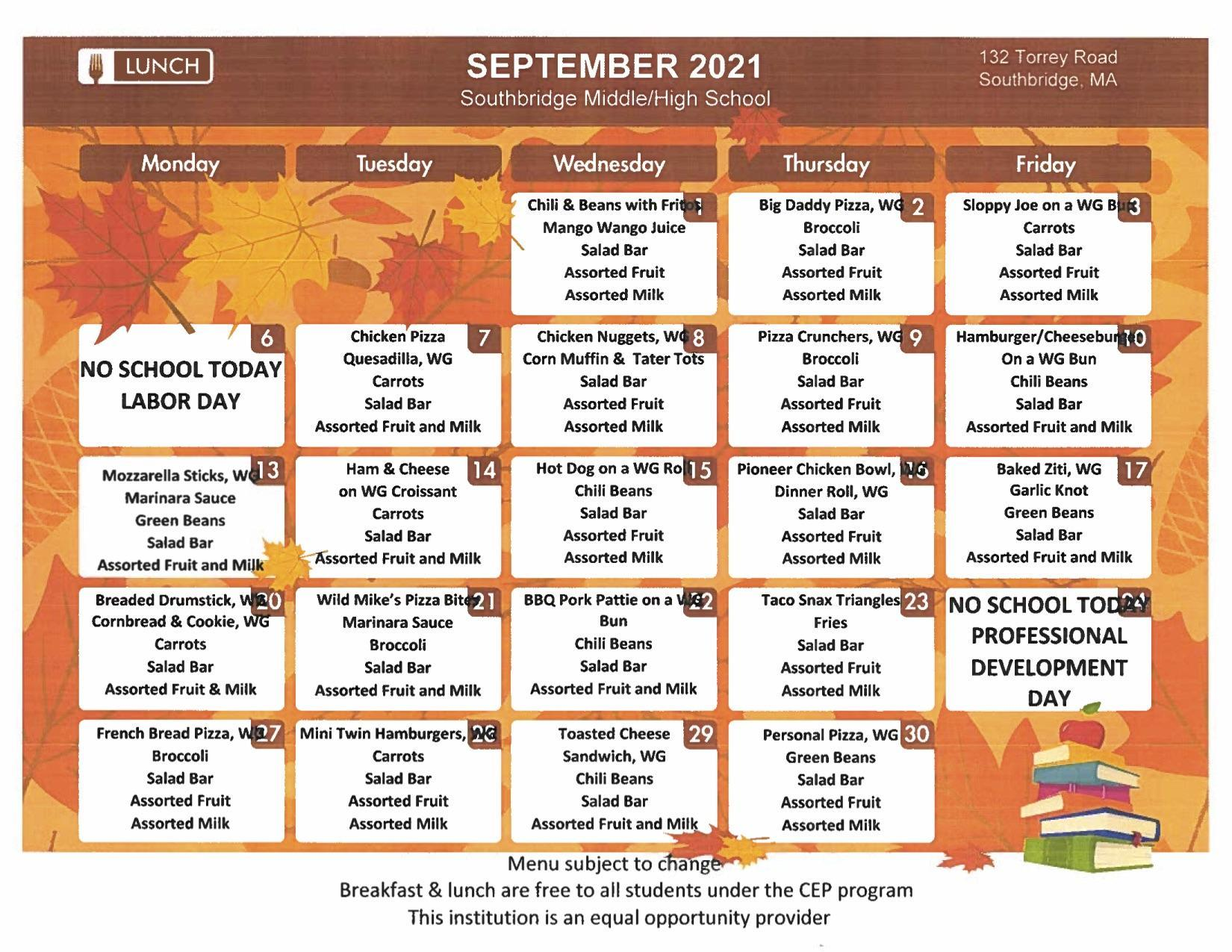September 2021 menu for elementary schools. PDF version available on this page.