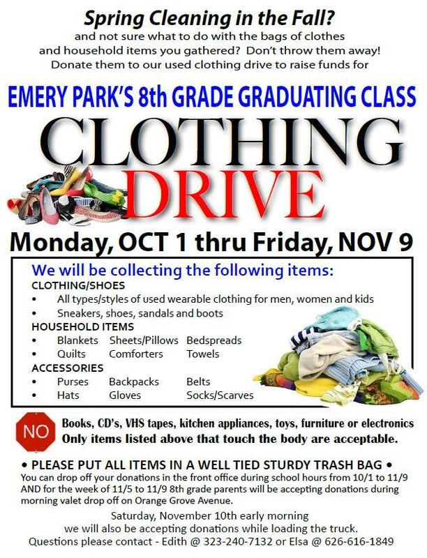 DONATE CLOTHING, TOWELS, BEDDING...ALL WHILE RAISING MONEY FOR OUR 8TH GR. CLASS! Featured Photo