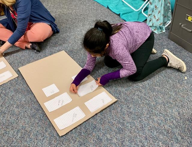 3rd grader Making bird houses using the perimeters they measured and drew out.