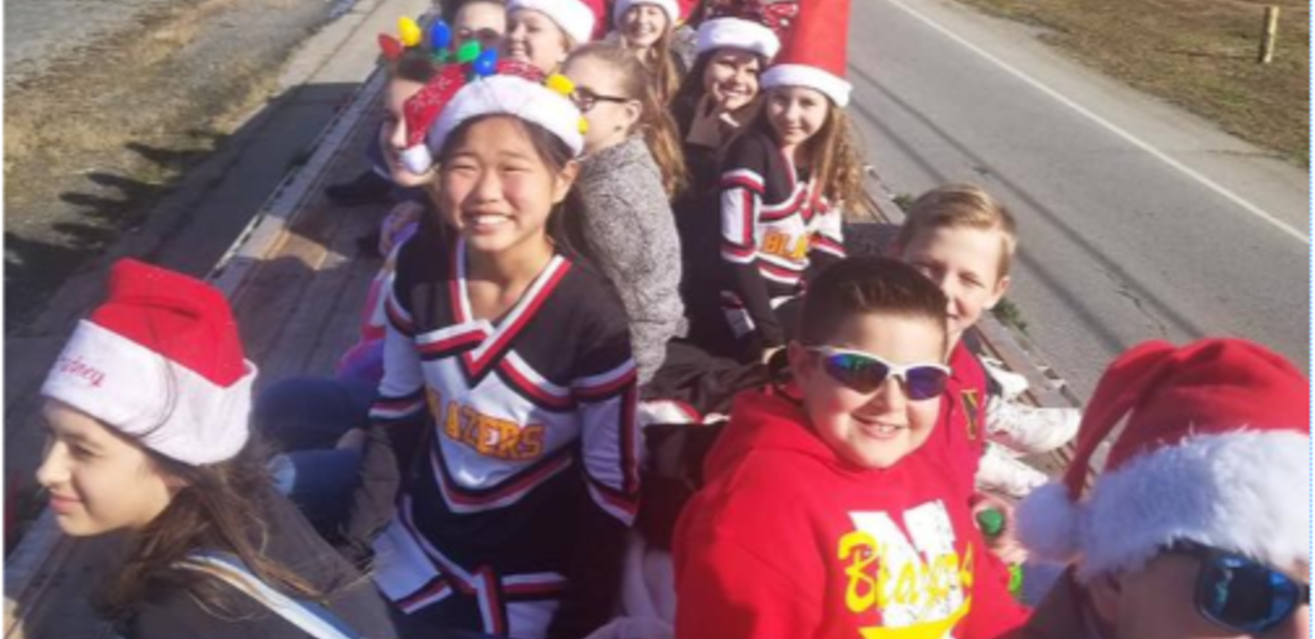 Cheerleaders at Greeneville Christmas Parade 2018