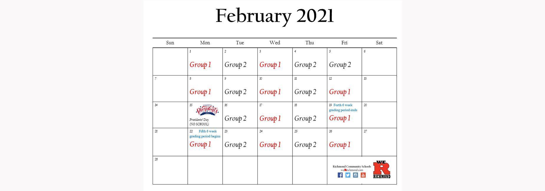 February 2021 Hybrid Schedule
