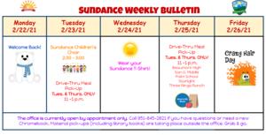Sundance Bulletin Week of 2/22/21