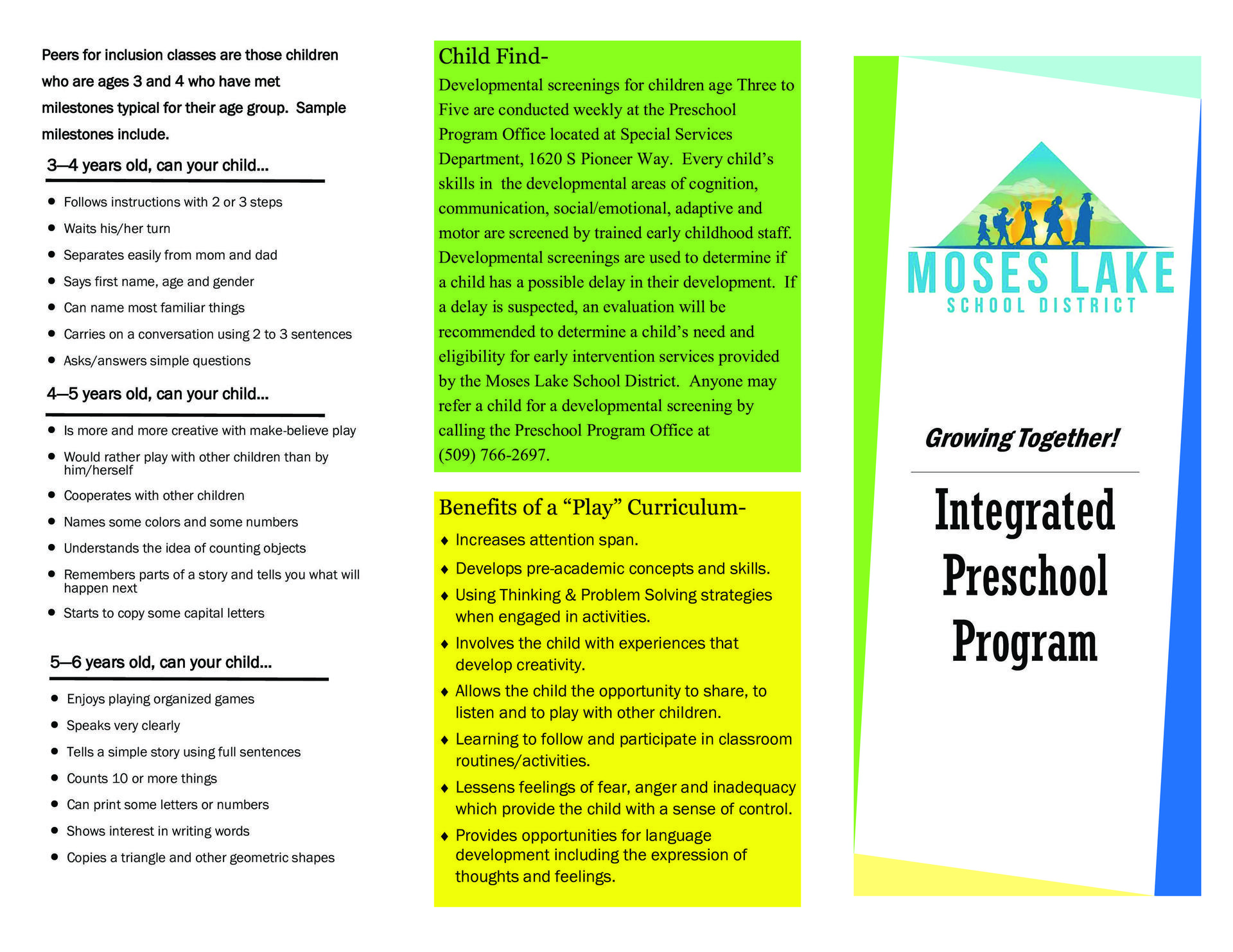Integrated Preschool Brochure Page 1
