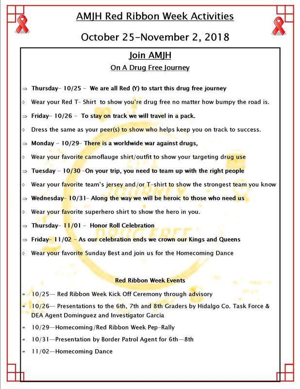 2018 Red Ribbon Week dress code and schedule of events