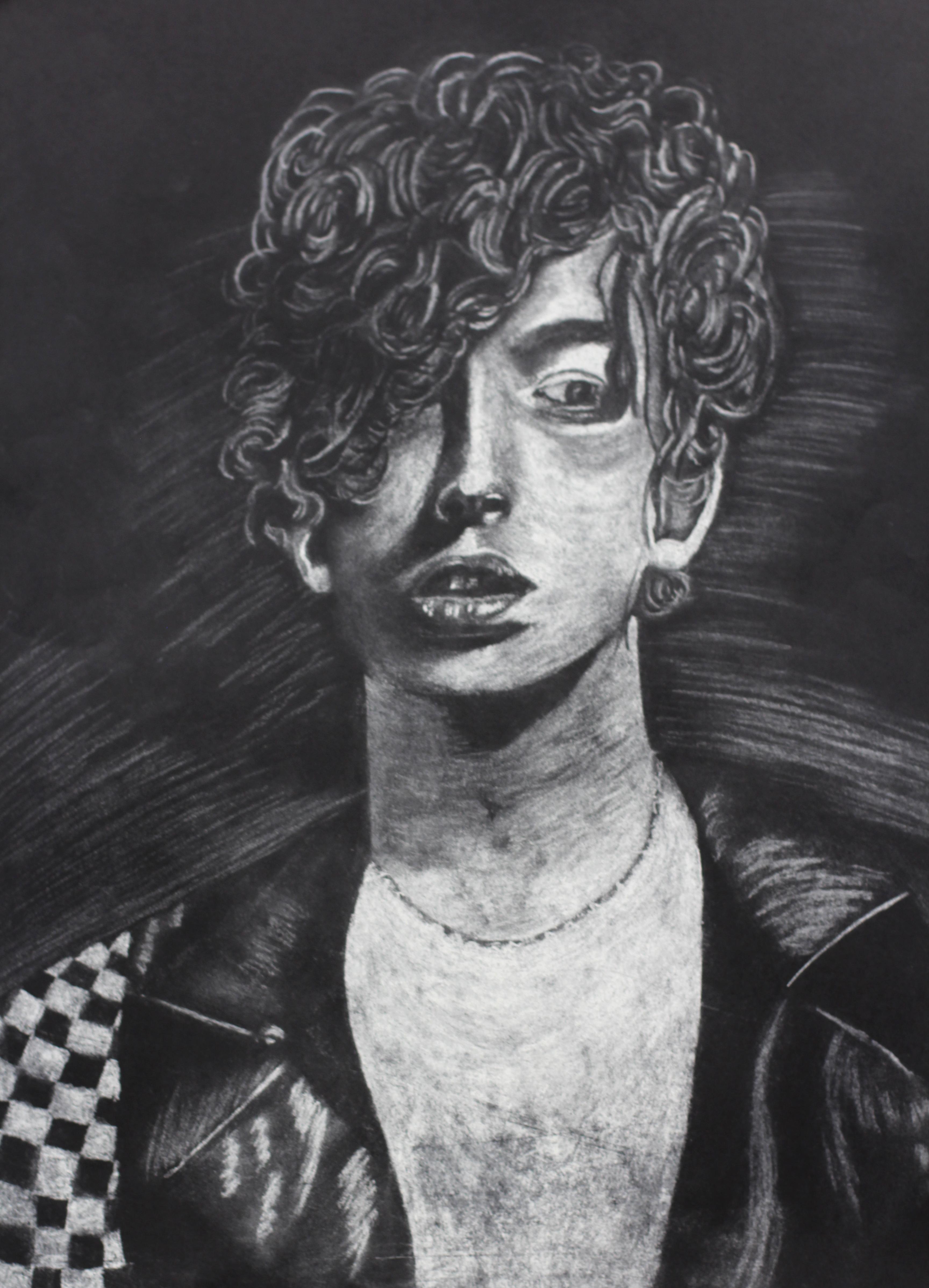 AHS Art charcoal drawing of boy