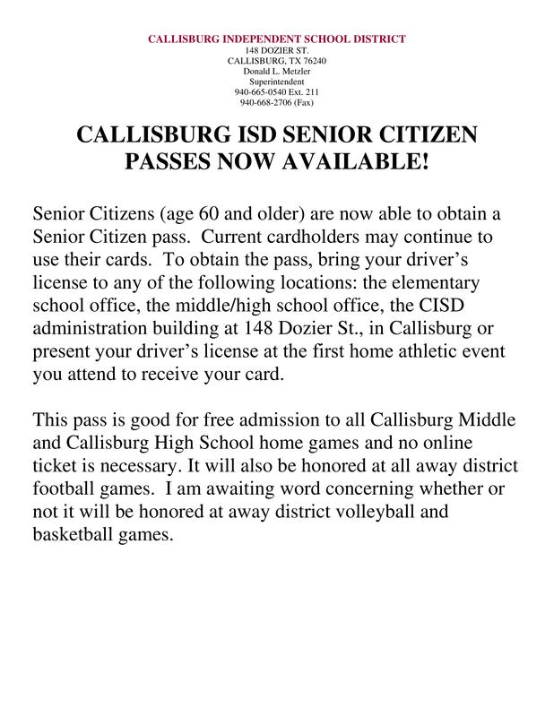 Senior citizen passes
