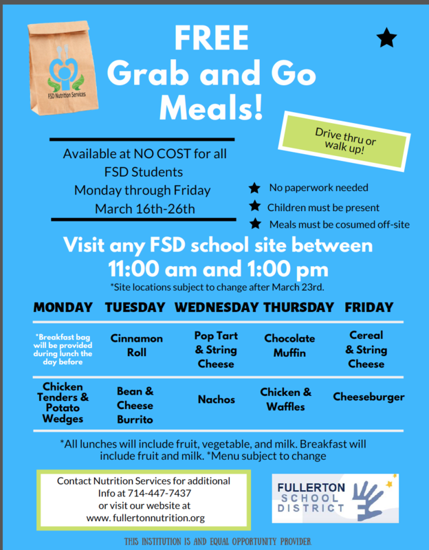 Lunch from 11:00 - 1p.m. March 16-20