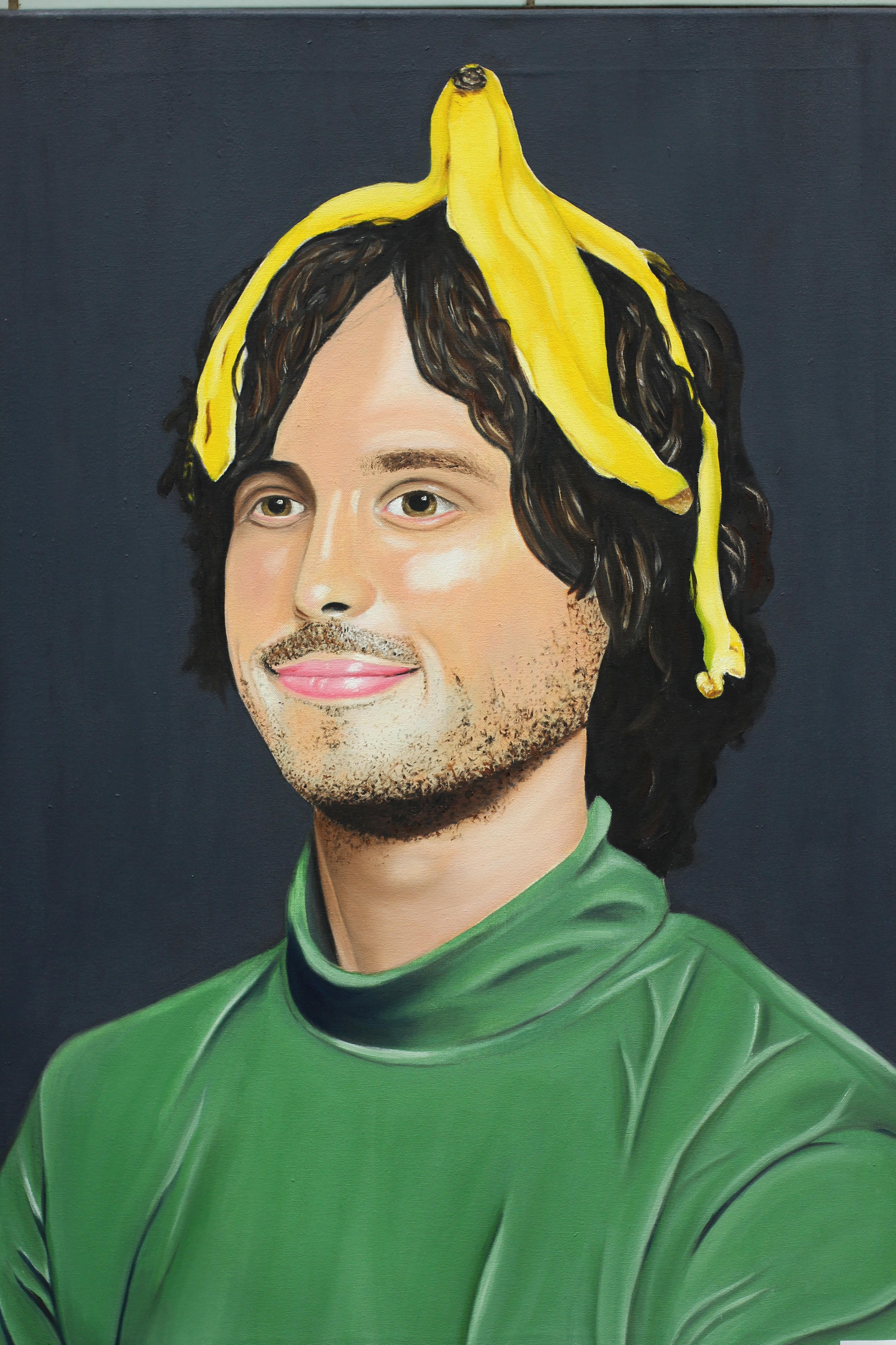AHS Art oil painting boy with banana on head