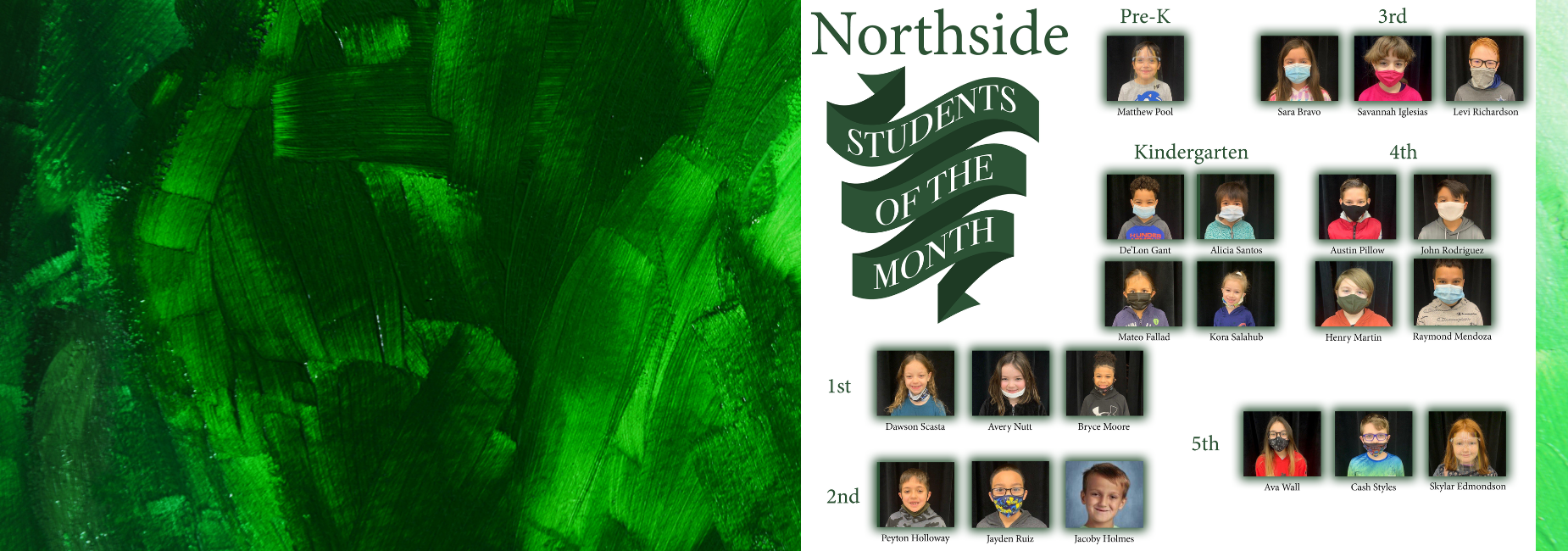 collage of pictures of students of the month