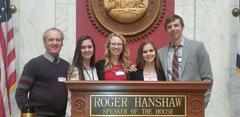 Legislature Day in Charleston. From left to right: Mr. Wilson, Emily Fox, Jessica Lane, Caitlyn Wendling, and Evan Trent