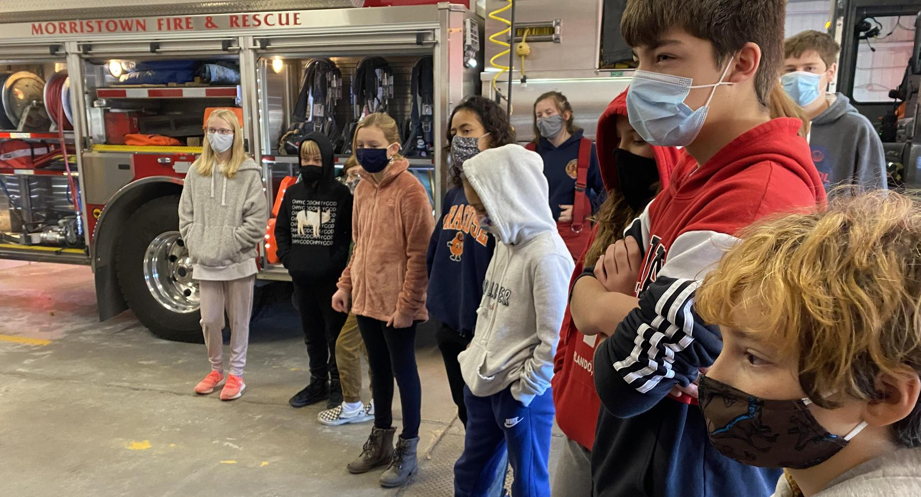 students at fire hall