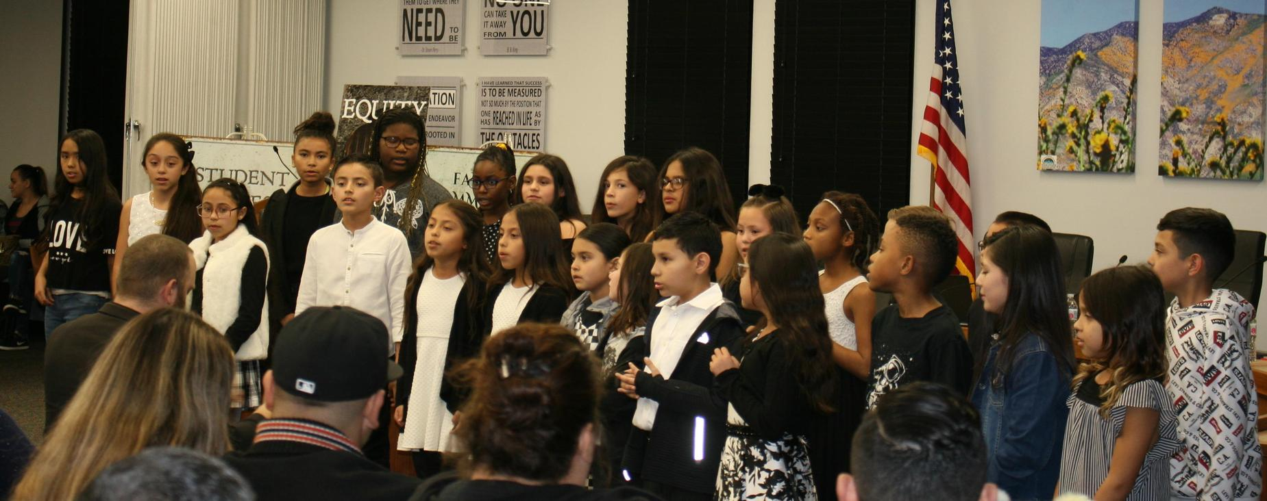 Choir from Megan Cope Elementary performed at the January Board of Trustees meeting