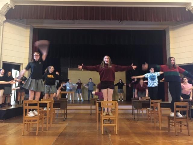 students rehearsing Matilda