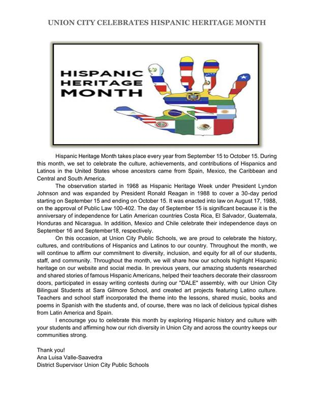 Hispanic heritage month letter in English