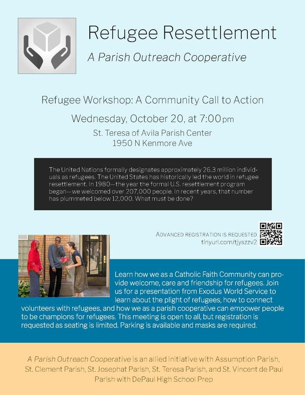 We invite you to join us for a Refugee Resettlement workshop on October 20 at 7pm at St. Teresa Featured Photo