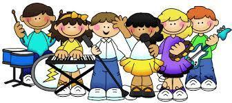 6 children playing musical instruments