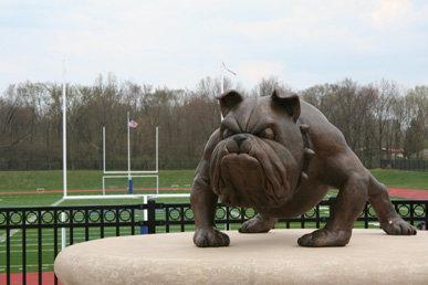 Bulldog statue at Bulldog Stadium.